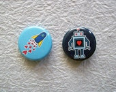 """Geeky Love 1.25"""" robot space rocket heart Pinback Button or magnet Set of 2 Designs"""