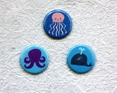 "Cute Sea Creatures Jellyfish Octopus Whale - 1.25"" Pinback Button or Magnet Set of 3"