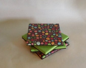 Lime Green & Multi Colored Polka Dot Coasters