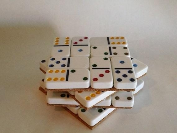 Colorful Domino Coasters