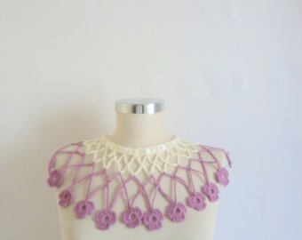Necklace Pink Ivory,handmade,jewelry,accesories,crochet,necklace,collar,cowl,wrap,warm,stole,shawl,scarf,scarflette