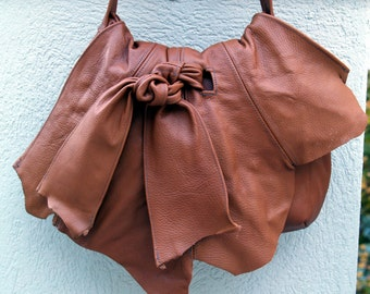 Camel Tan Leather Hobo Handbag with Knotted Tie and Natural Raw Edges