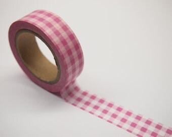 Pink Check Washi Tape (10M)