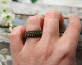 SALE Army Green Ring Band - made with repurposed zipper - Size 9 1/2