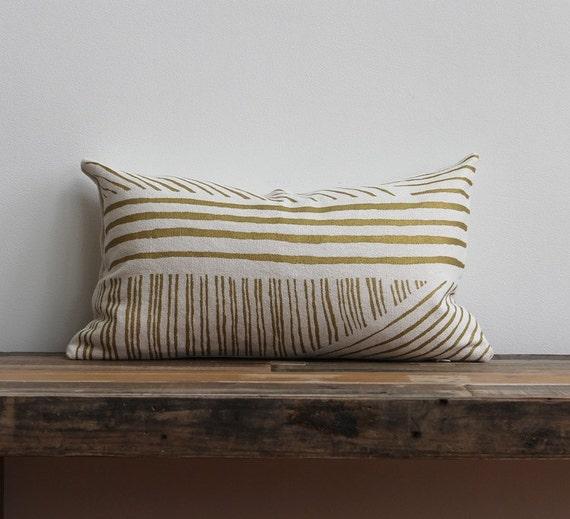Metallic gold & off-white handprinted organic hemp pillow cover 12x21