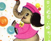 Birthday Card To Grandmother Elephant Greeting Card Bubbles Balloons 1960's Era