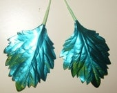 TURQUOISE Paper Flower Foil Leaves Spring Christmas Wreath Corsage Garland Paper Crafts RR