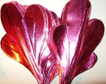 Vintage Christmas Foil Wreath Millinery Leaves Floral Decoration Pink Red DIY Flower Crafts Paper Art Supply JJ