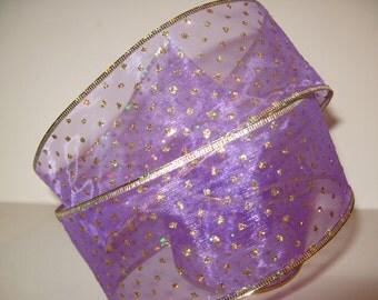 Purple Christmas Ribbon Vintage Wired Gold Sheer Polka Dot Organza Metallic Fabric Craft Trim
