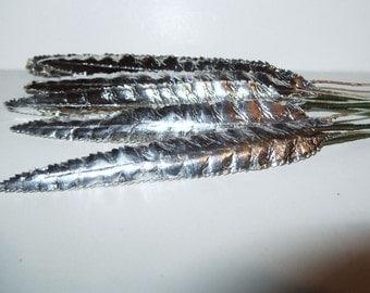 "Silver Foil Leaves Paper Craft Millinery Flower Metallic Art Scrapbooking Floral Supplies X 5"""