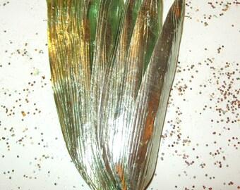 Craft Paper Leaves Vintage Millinery Flower Supplies TEA GREEN Metallic Foil Art DIY Spring Wreath Q