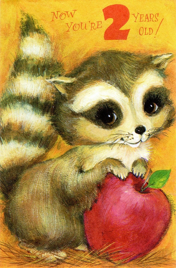 Big-Eyed Raccoon Birthday Card For two/ 2 Year Old Child 1960's Vintage