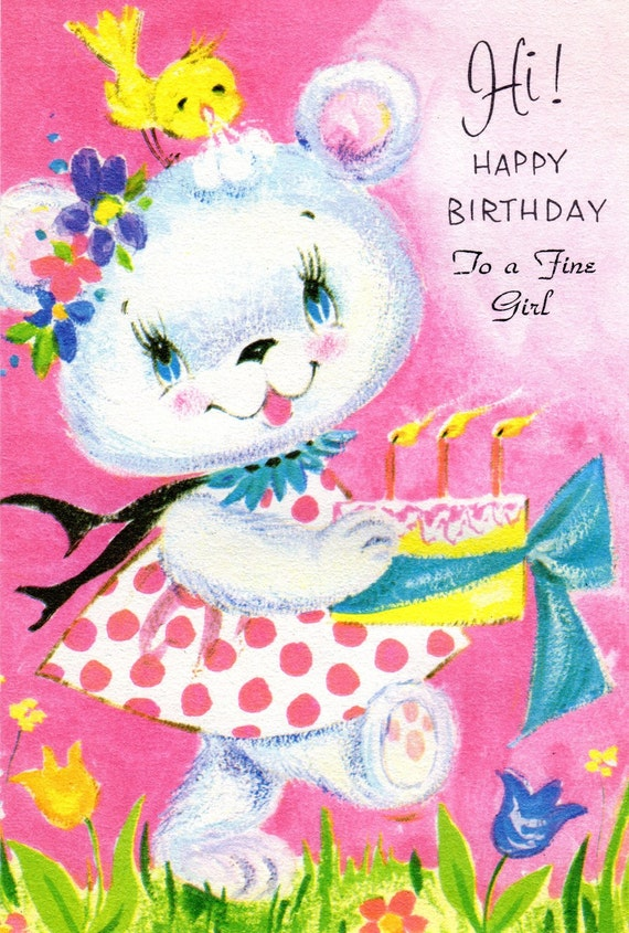items similar to pink birthday card girl child vintage