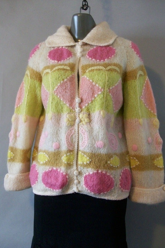 FABULOUS // 1960s CYN LES// Mod/Mohair/Wool //Cardigan Sweater//Fully Lined