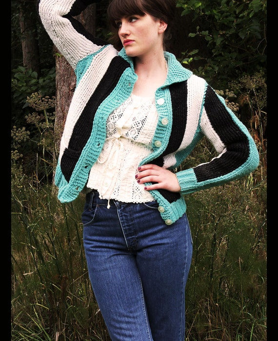 60s CHUNKY KNIT Turquoise Striped Cardigan Sweater Jacket, Small