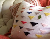 Felt Triangles Pillow Cover, Modern Design on Linen Blend, Customized, Personalized, Made to Order