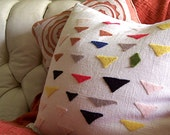 RESERVED for David, Pair Pillow Covers, Felt Triangles and Polka Dots, Modern Design on Linen Blend, Customized, Personalized, Made to Order