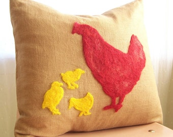 Felt Silhouette Pillow by viAnneli, Hen and Chicks Pillow, Personalized Pillow Cover,  Customized Pillow, Made to Order