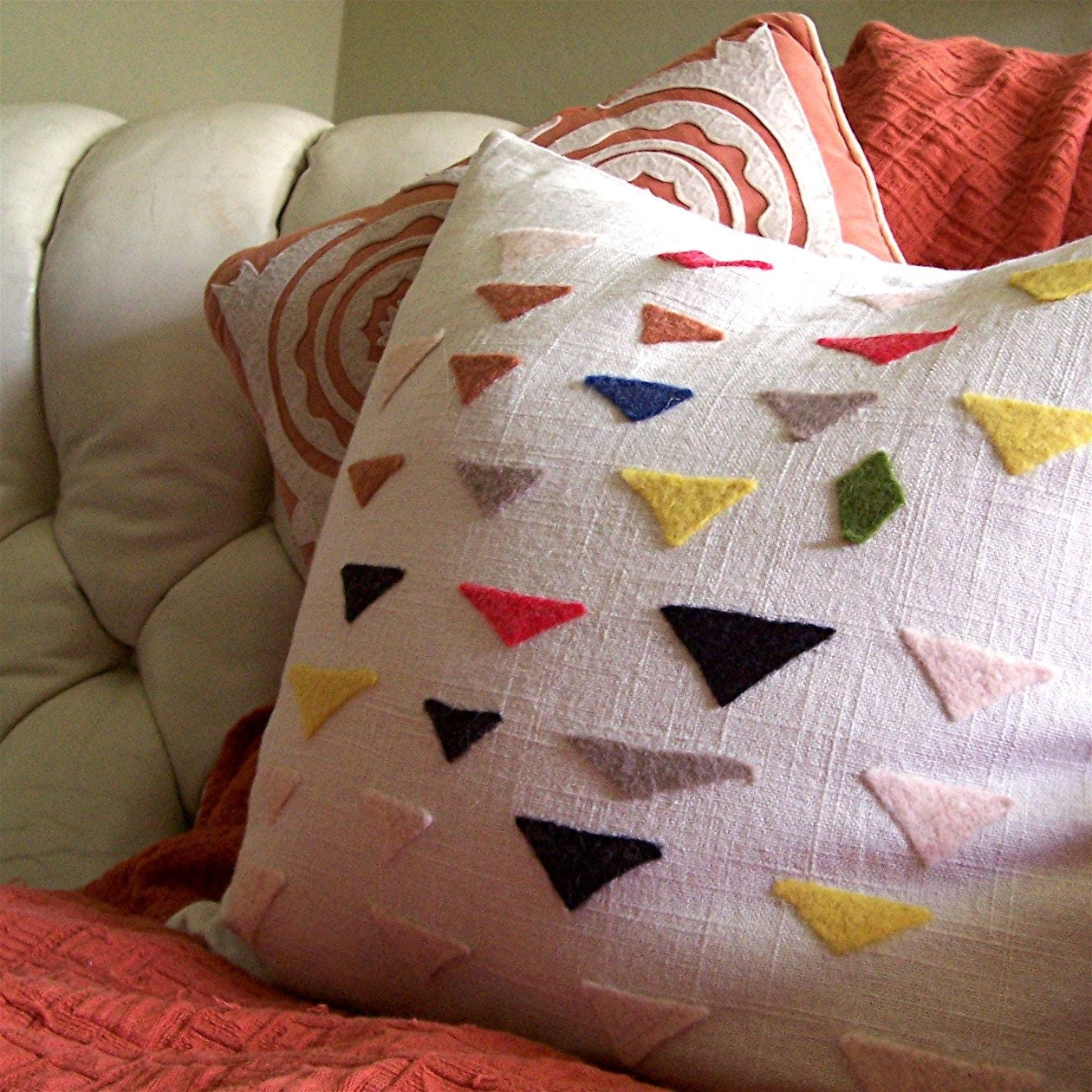 Felt Triangles Pillow Cover Modern Design on Linen Blend