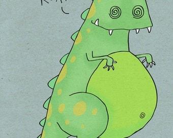 Scarey Dinosaur - Illustration Print