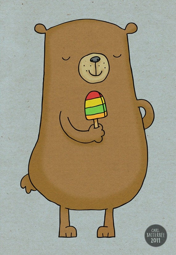 Bear with Lolly - Illustration Art Print