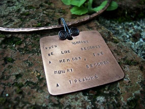 """Copper Memorial Quote Pendant on Neck Ring  Collarette  """"Claudia""""  SAMPLE photo"""