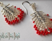 SALe /// Beadwork Feather Earrings ... Grey and Red EarF006