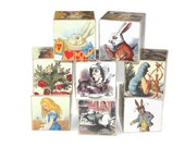 Vintage Alice in Wonderland Wooden Blocks