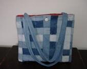 denim purse woven vintage denim strips