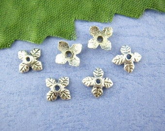 20 Antique Silver 4 Petal Leaves Bead End Caps 6mm . Pewter Tibetan Silver Style . fin0115a