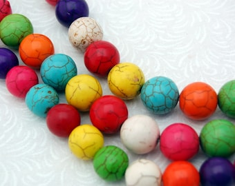 4mm Synthetic Howlite Stone Beads ROUND BALL, mixed colors how0233
