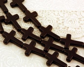 1 Strand Howlite Cross Beads . BLACK . Sideways Cross, 30mm x 20mm how0179