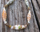 OOAK Upcycled Paper Bead  Bracelet- Maize- gift under 5, 10. 15  dollars