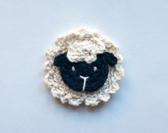 Instant Download - PDF Crochet Pattern - Sheep Applique - Text instructions and SYMBOL CHART instructions