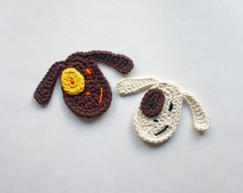 Instant Download - PDF Crochet Pattern - Dog Applique - Text instructions and SYMBOL CHART instructions