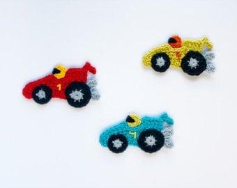 Racing Car Applique - PDF Crochet Pattern - Instant Download - Embellishment Accessories Ornament Scrapbooking