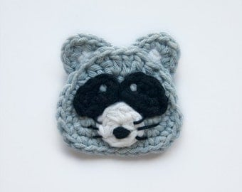 Instant Download - PDF Crochet Pattern - Raccoon Applique - Text instructions and SYMBOL CHART instructions