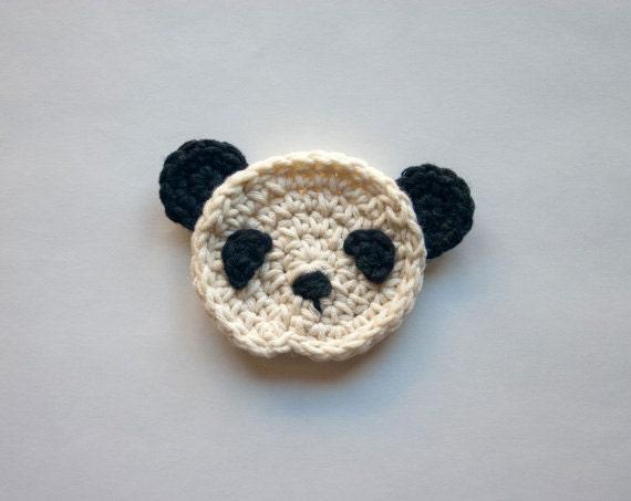 Instant Download - PDF Crochet Pattern - Panda Applique - Text instructions and SYMBOL CHART instructions