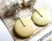 Bookworm Earrings, Antique Stone, Paper Bead Jewelry