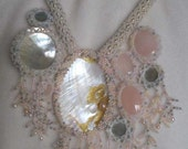 Mabe pearl pink quartz and shell statement wedding necklace
