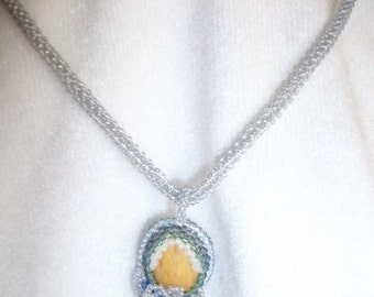 Fast water river rock beaded necklace