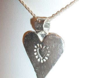 Art clay fine silver hand formed heart necklace