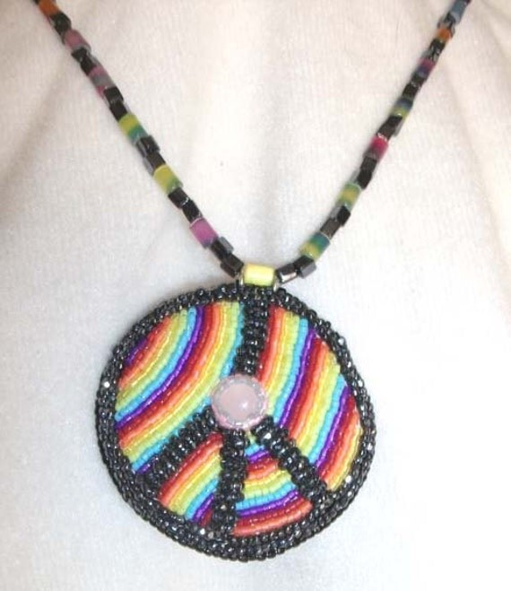 Rainbow peace symbol bead embroidered pendant necklace