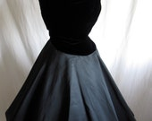 Vintage 1950's  LBD. Steam punk wedding. New Look .Velvet Plunge Neckline.Taffeta. Full Circle. MadMen.Cocktail Party 34 25 S