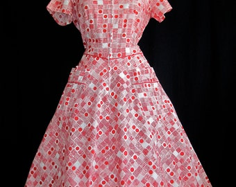 Vintage 1950's Rockabilly.VLV.Novelty print. Cherry. Dots. Front Pockets Self tie.Sweet heart.Circle skirt. Party dress. by Happy Home