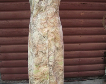 Vintage Saks Fifth Avenue Tunic Dress of Feather Print With Wrap