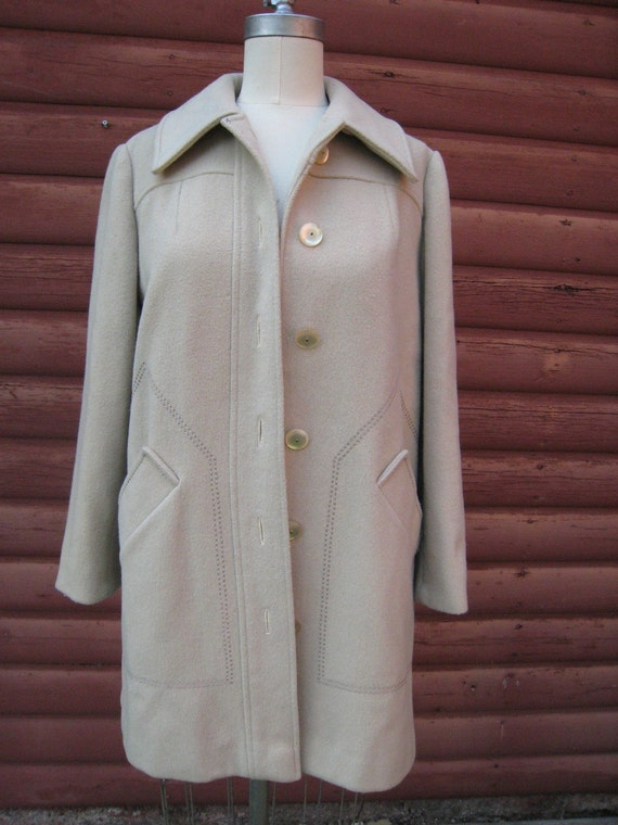 Vintage 1950s Holly Plush Taupe Cream Wool Coat with Stitching Details