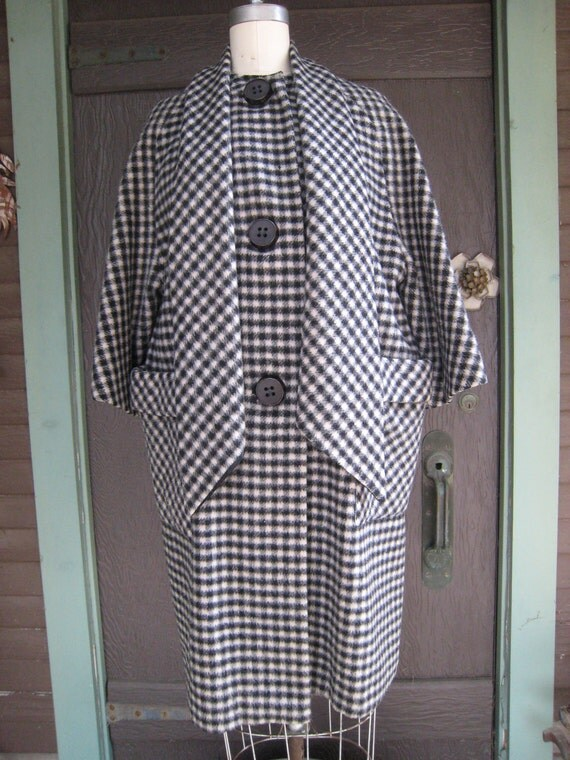 Vintage Black and White Plaid Coat from Forstmann with Built in Muffler Scarf 1950 1960s