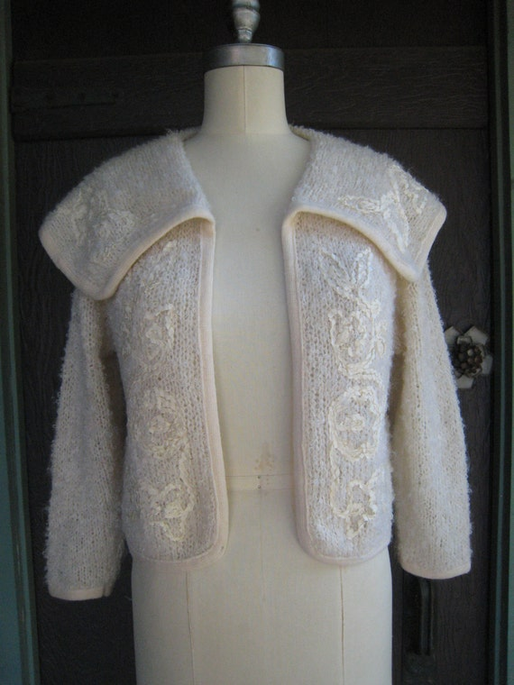 Vintage Cream Boucle Knit Sweater with Large Collar and Ribbon Details by Marlene Knit of California
