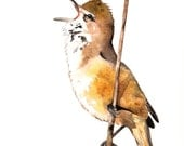 Bird Watercolor Painting -B057-  print of watercolor painting A4 wall art print - bird art - art print - wildlife print